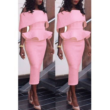 Lovely Elegant Dew Shoulder Pencil Pink Mid Calf Dress