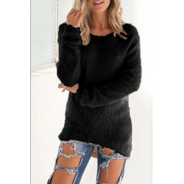 Lovely Euramerican Winter Long Sleeves Black Blending Blouses