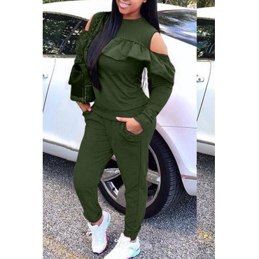 Lovely Sweet Dew Shoulder Flounce Army Green Blending Two-piece Pants Set