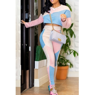 Lovely Casual Patchwork Pink Knitting Two-piece Pants Set