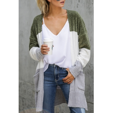Lovely Casual Color-lump Patchwork Blackish Green Velvet Cardigan Sweaters