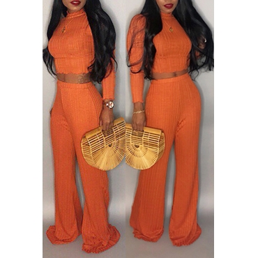 Lovely Chic Long Sleeves Loose Orange Two-piece Pants Set