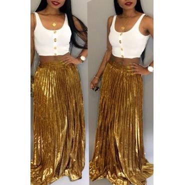 Lovely Euramerican Loose Gold Ankle Length Skirts