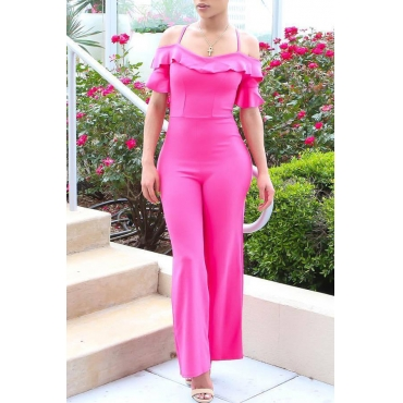 Lovely Casual Flounce Design Pink Cotton One-piece Jumpsuit