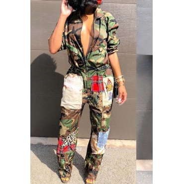 Lovely Euramerican Patchwork Camouflage Printed One-piece Jumpsuit