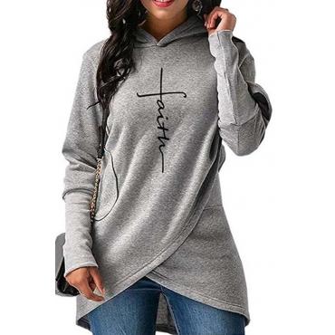 Lovely Trendy Hooded Collar Asymmetrical Grey Hoodie