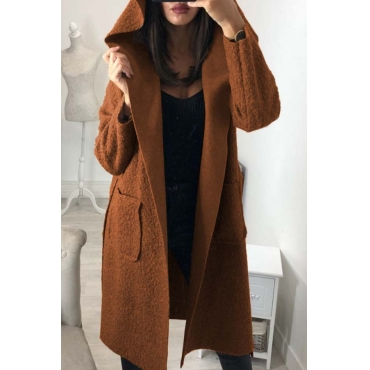 Lovely Trendy Long Sleeves Lace-up Brown Trench Coats