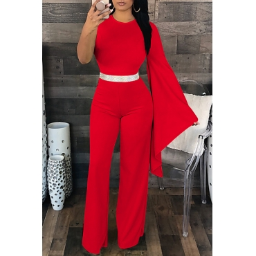 Lovely Elegant Asymmetrical Red One-piece Jumpsuit(Not Including Accessories)