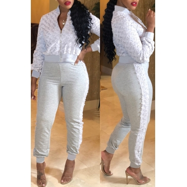 Lovely Casual Patchwork Grey Blending Two-piece Pants Set