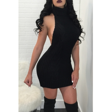 Lovely Sexy Backless Black Sweater Mini Dress