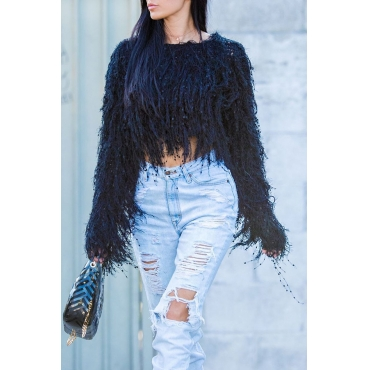 Lovely Sweet Tassel Design Black Blending Sweaters