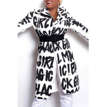 Lovely Chic Letters Printed White Twilled Satin Trench Coats (Without Belt)