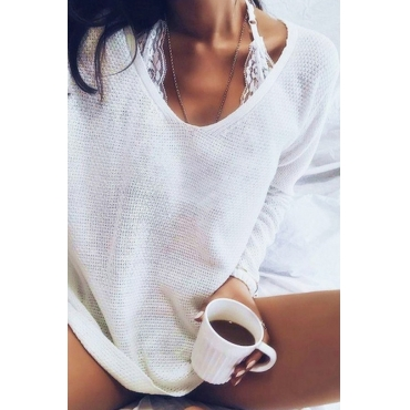 Lovely Euramerican Long Sleeves White Acrylic Sweaters