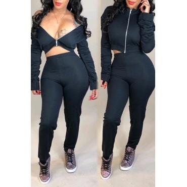 Lovely Euramerican Zipper Design Black Blending Two-piece Pants Set