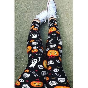 Lovely Euramerican Pumpkin Printed Skinny Black Pants