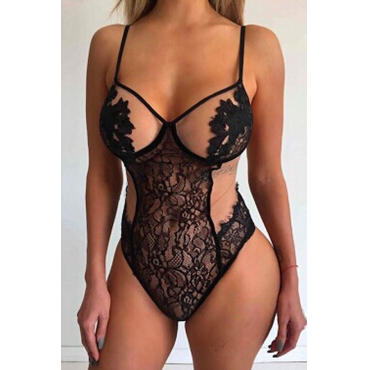 Lovely Sexy Hollowed-out Black Lace Teddies