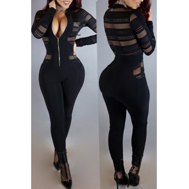 Lovely Sexy Patchwork Skinny Black Blending One-piece Jumpsuit
