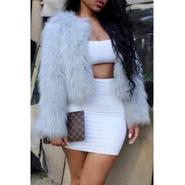 Lovely Trendy Keep Warm Grey Faux Fur Coat