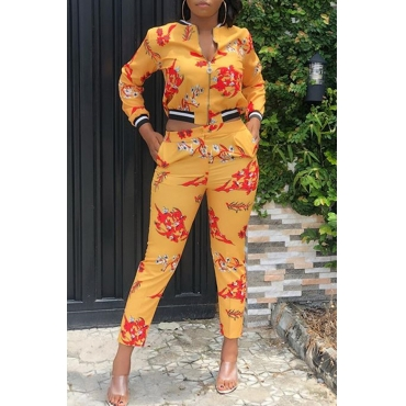 Lovely Casual Printed Yellow Blending Two-piece Pants Set