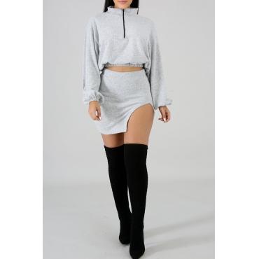 Lovely Trendy Side Slit  Light Grey Two-piece Skirt Set