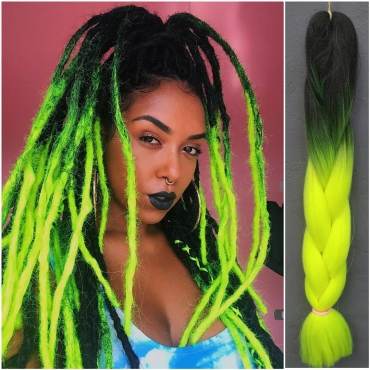 Lovely Chic Gradual Change Plait Green Wigs