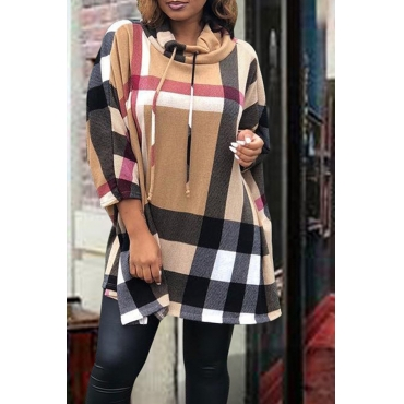 Lovely Fashionable Grids Printed Multicolor Twilled Satin Mini Dress
