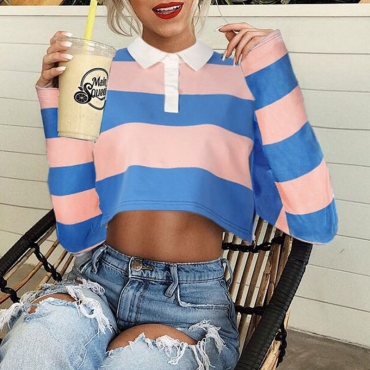 Lovely Euramerican Show Hilum Striped Multicolor Hoodies