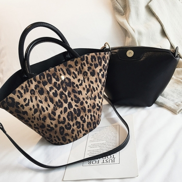 Lovely Casual Leopard Khaki PU Shoulder Bags