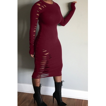 Lovely Casual Broken Holes Wine Red Twilled Satin Knee Length Dress