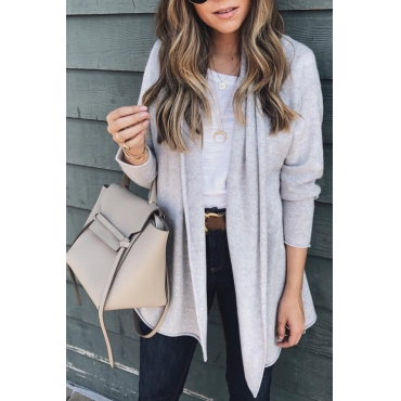 Lovely Euramerican Long Sleeves Grey Acrylic Cardigan Sweaters