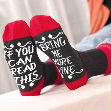 Lovely Euramerican Letters Black Acrylic Socks