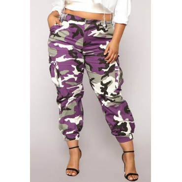 Lovely Trendy Camouflage Purple Pants