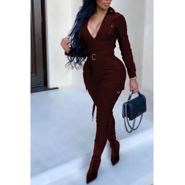Lovely Casual Hasp Design Wine Red Twilled Satin  One-piece Jumpsuit