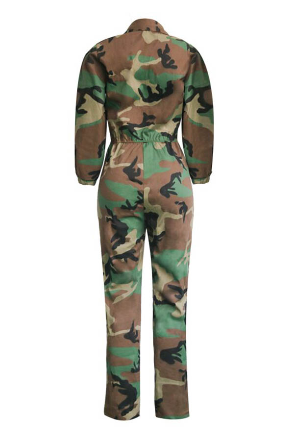 Lovely Casual Patchwork Camouflage Printed One-piece Jumpsuit