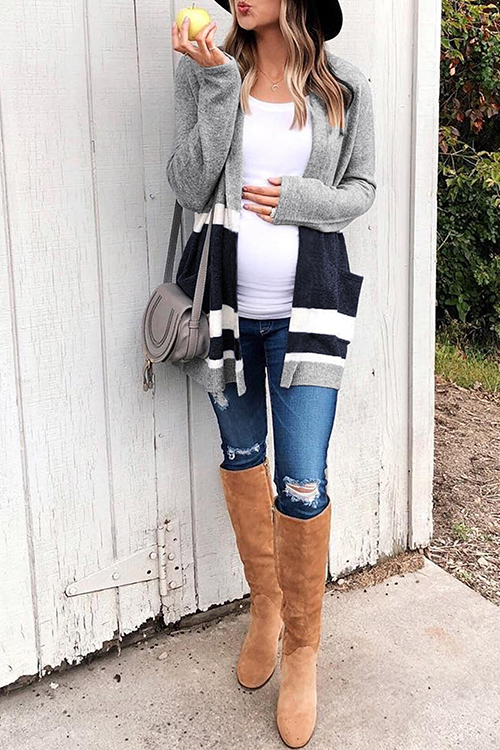 Lovely Casual Patchwork Grey Acrylic Cardigan Sweaters