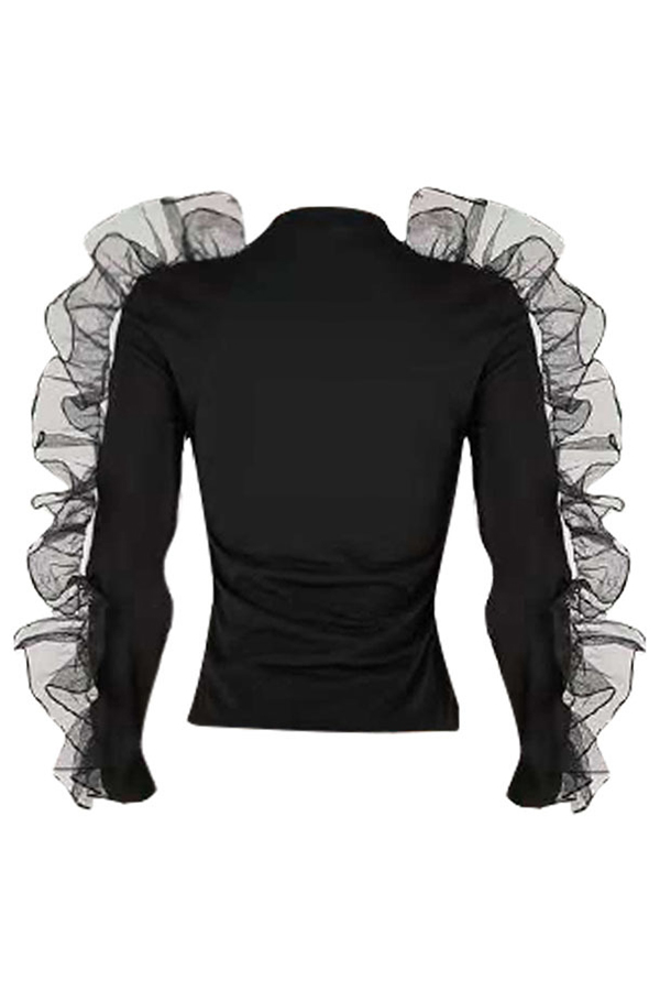 Lovely Casual Falbala Design Black Blending T-shirt