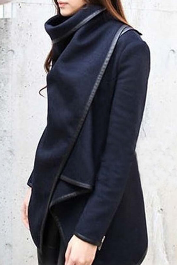 Lovely Casual Long Sleeves Irregular Dark Blue Coat