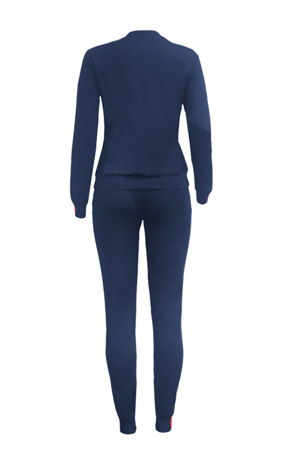 Lovely Casual Long Sleeve Patchwork Blue Twilled Satin Two-piece Pants Set