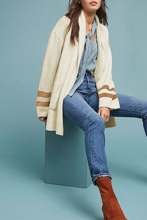 Lovely Casual Long Sleeves Striped Ke-Bai Mi Cardigans