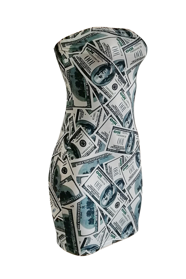 Lovely Sexy Sleeveless Dollar Printed White Mini Sheath Dress