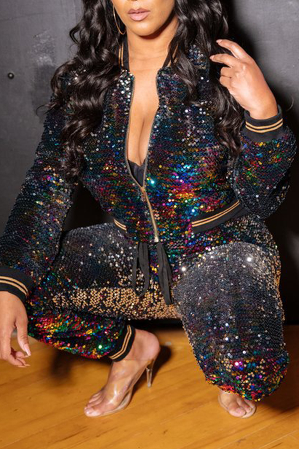 Lovely Casual Long Sleeves Sequined Black Two-piece Pants Set