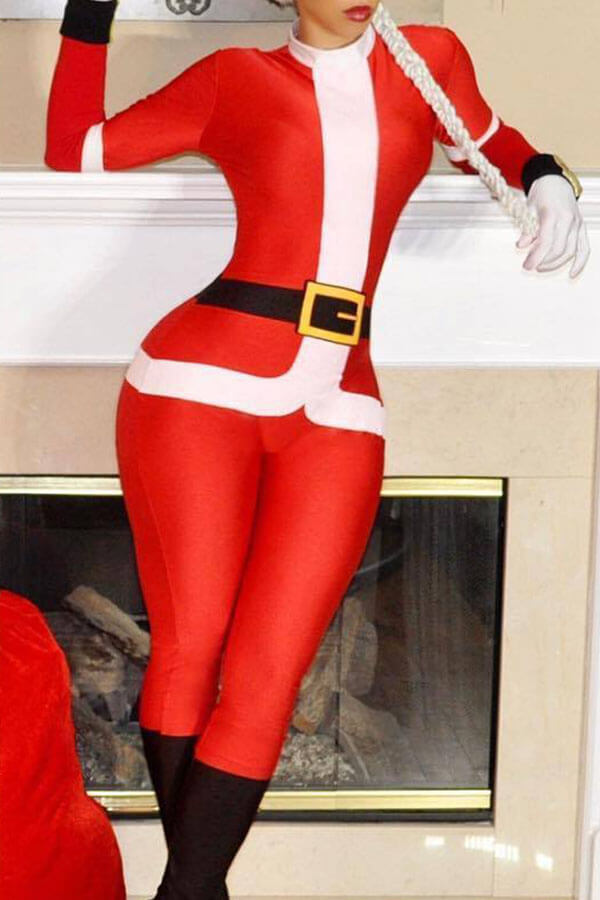 Lovely Casual Santa Claus Red Blending One-piece Jumpsuit