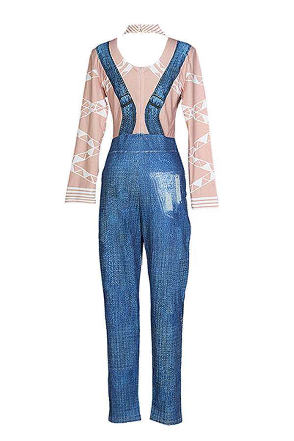 Lovely Stylish Printed Blue Knitting One-piece Jumpsuit