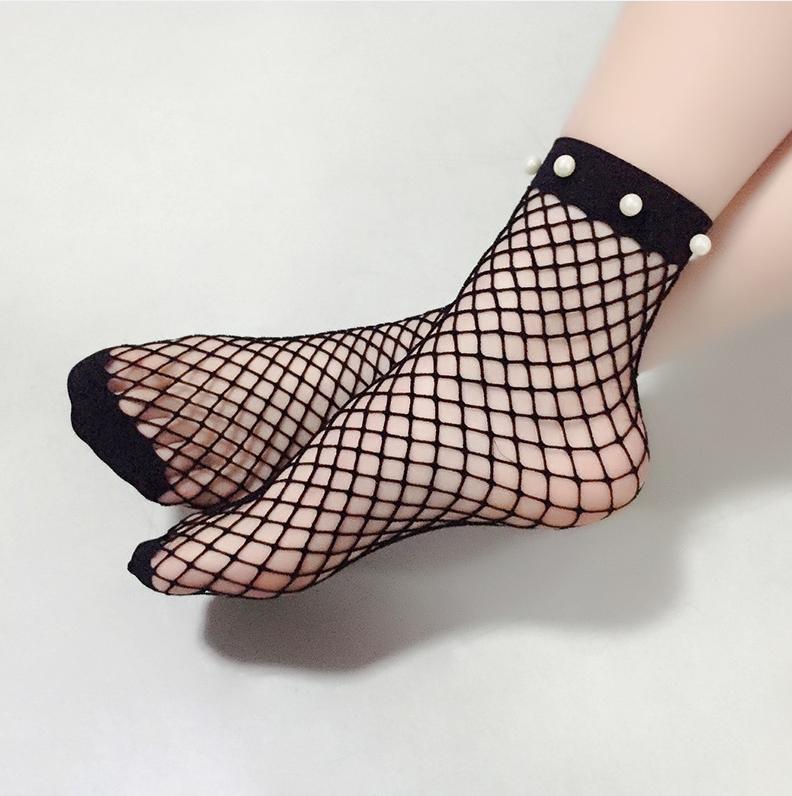 Lovely Sexy Pearl Decorative Black Mesh Socks