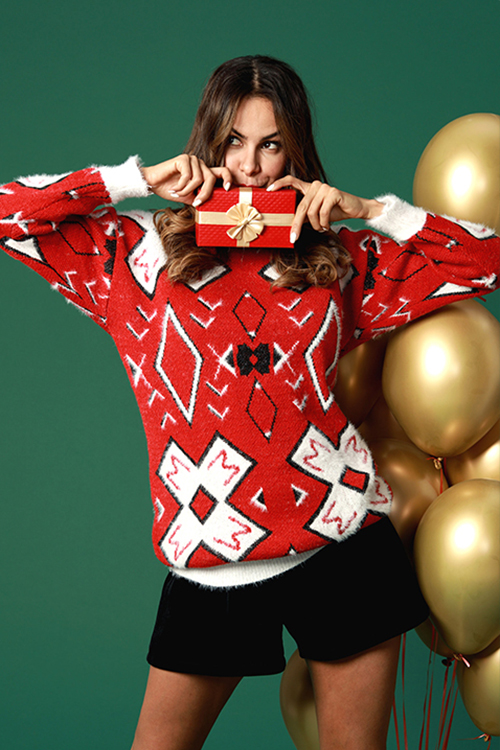 Lovely Sweet Long Sleeves Printed Red Mohair Sweaters