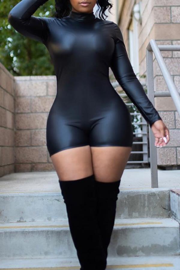 Mamelucos Negros Encantadores Sexy De La PU