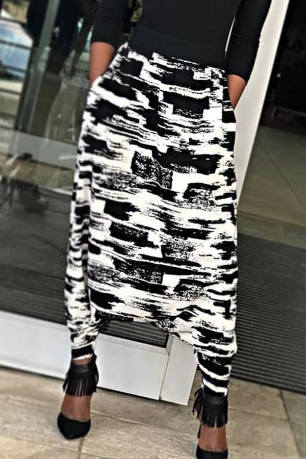 Lovely Casual Printed Black+White Blending Baggy Pants
