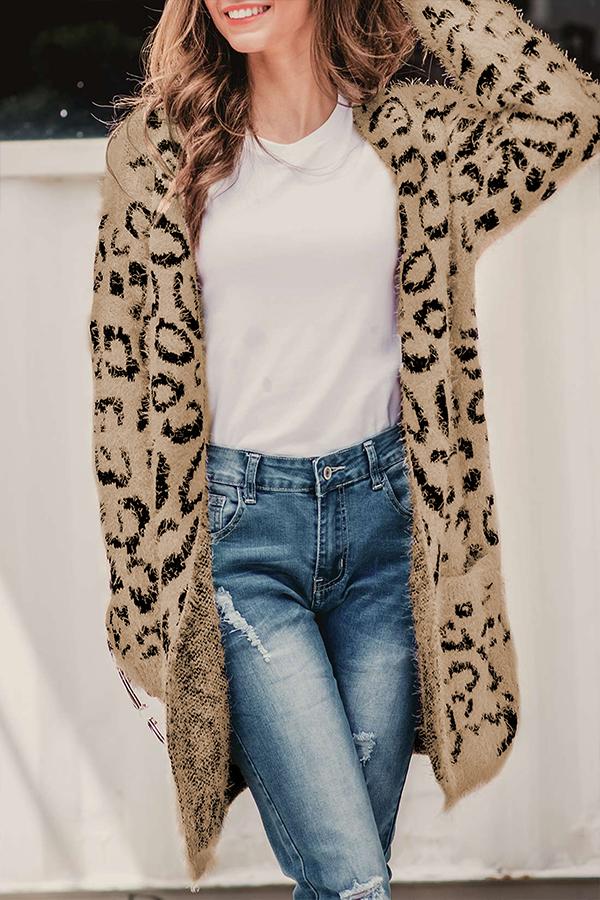 Lovely Euramerican Long Sleeves Leopard Cotton Blends Long Cardigans