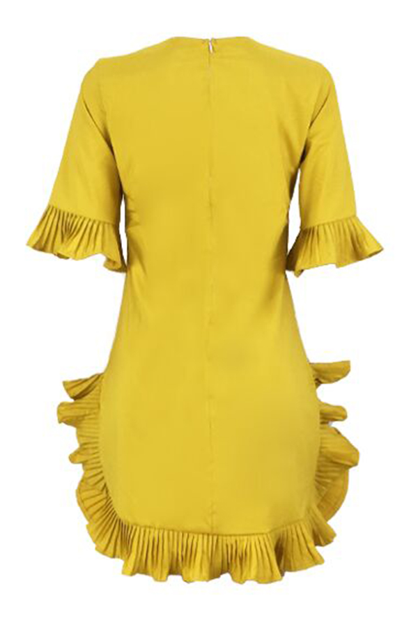 Lovely Sweet Ruffle Design Yellow Blending Mini Dress