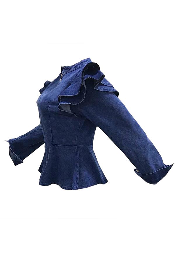 Lovely Casual Flouncing Design Babyblue  Denim Coat
